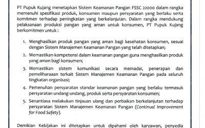 Kebijakan Keamanan Pangan PT Pupuk Kujang